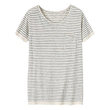 Buy Toast Beppu Stripe Cotton Top, Black/Cloud Online at johnlewis.com