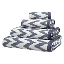 Buy John Lewis Fusion Chevron Towels Indian Blue Online at johnlewis.com