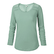 Buy Fat Face Lula Lace Long Sleeved T-Shirt, Frost Green Online at johnlewis.com