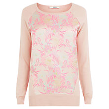 Buy Oasis Neon Jacquard Front Top, Taupe/Pink Online at johnlewis.com