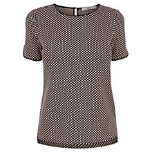 Buy Oasis Spot Jacquard Boxy T-Shirt, Black Online at johnlewis.com