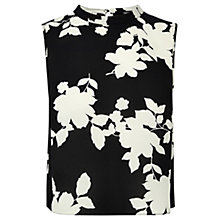 Buy Oasis Floral Shadow Crop Top, Black / White Online at johnlewis.com