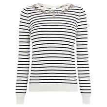 Buy Oasis Embellished Stripe Top, White/Black Online at johnlewis.com