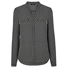 Buy Oasis Zip Pocket Geometric Shirt, Black Online at johnlewis.com