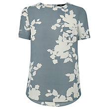 Buy Oasis Floral Shadow T-Shirt, Grey Online at johnlewis.com