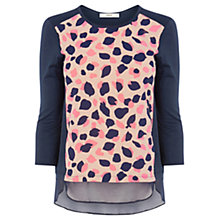 Buy Oasis Peardrop Print Sweater, Blue/Multi Online at johnlewis.com