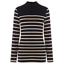 Buy Oasis Block Stripe Polo Top, Black / White Online at johnlewis.com