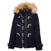 Buy Fat Face Short Faux Fur Trim Wool Blend Duffle Coat, Navy Online at johnlewis.com