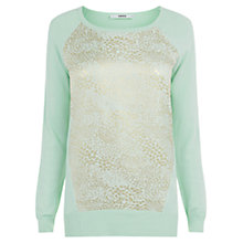 Buy Oasis Animal Jacquard Front Top, Green Online at johnlewis.com