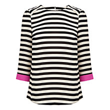 Buy Oasis Drape Sleeve Top, Multi Black Online at johnlewis.com