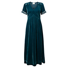 Buy East Lace & Velvet Maxi Dress, Lapis Online at johnlewis.com