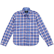 Buy Hackett London Boys' Multi Check Long Sleeve Shirt, Blue/Red Online at johnlewis.com