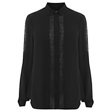 Buy Warehouse Lace Insert Blouse, Black Online at johnlewis.com