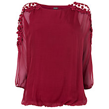 Buy Phase Eight Louise Silk and Lace Blouse, Red Online at johnlewis.com