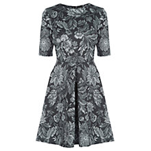 Buy Warehouse Tapestry Floral Print Dress, Black Online at johnlewis.com