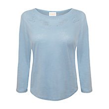 Buy East Cut-Work Jersey Top, Powder Blue Online at johnlewis.com