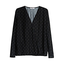 Buy Mango Printed Wrap Blouse, Black Online at johnlewis.com