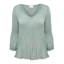 Buy East Pleat V-Neck Blouse, Mineral Online at johnlewis.com