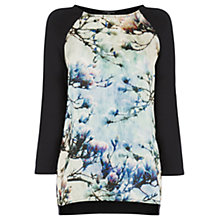 Buy Warehouse Magnolia Print Front Top, Black Online at johnlewis.com