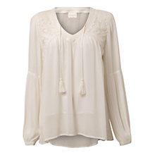 Buy East Lace Trim Mesh Top, Pearl Online at johnlewis.com