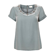 Buy East Velvet Embellished Blouse Top, Smoke Online at johnlewis.com