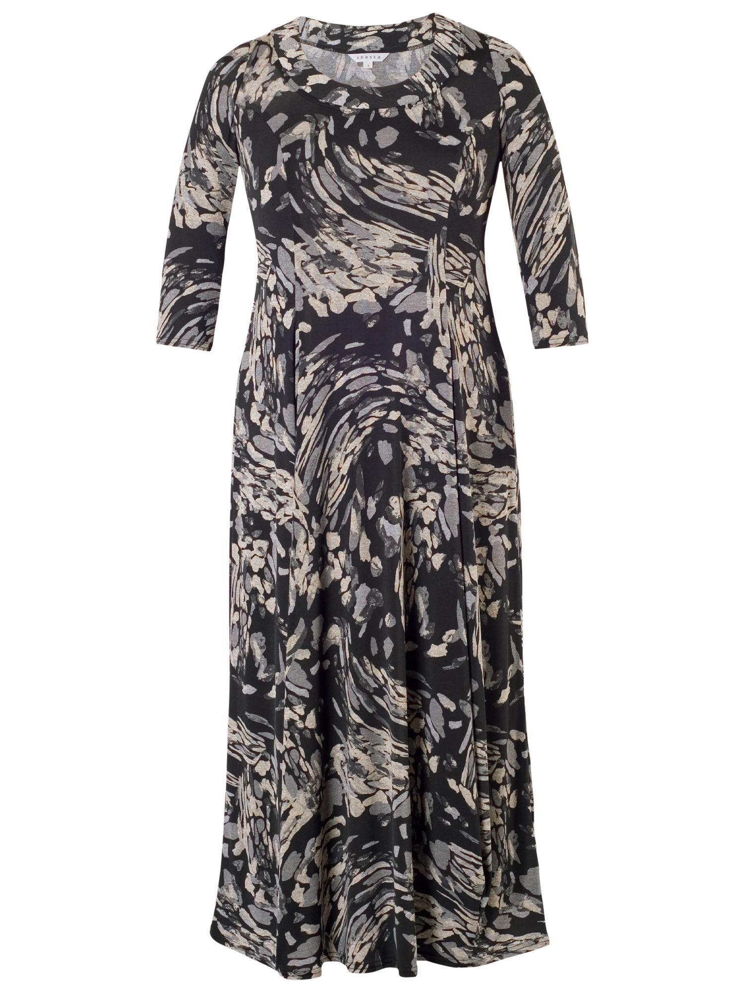 chesca steel print draped jersey dress grey, chesca, steel, print, draped, jersey, dress, grey, 12-14|24-26|20-22|16-18, women, plus size, womens dresses, 1774269