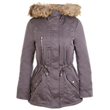 Buy Miss Selfridge Blonde Faux Fur Parka, Grey Online at johnlewis.com