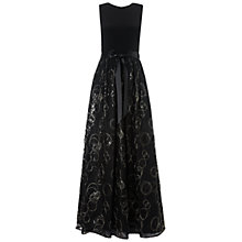 Buy Aidan Mattox Jersey Body Lace Gown, Black/Gold Online at johnlewis.com