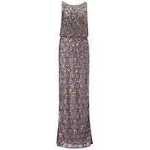 Buy Aidan Mattox Beaded Lace Blouson Gown, Gunmetal Online at johnlewis.com