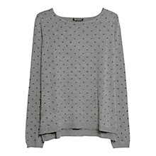 Buy Mango Embossed Polka Dot Sweater, Medium Grey Online at johnlewis.com