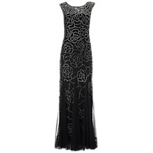 Buy Aidan Mattox Sleeveless Beaded Gown, Black/Silver Online at johnlewis.com