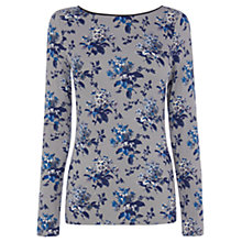 Buy Oasis Primrose Print PU Trim Top, Blue/Multi Online at johnlewis.com
