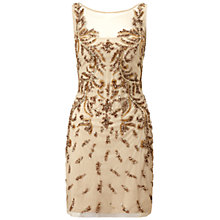 Buy Aidan Mattox Sleeveless Beaded Cocktail Dress, Nude Online at johnlewis.com