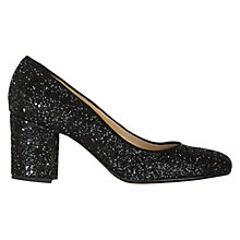Buy Hobbs Betty Glitter Court Shoes, Black Online at johnlewis.com
