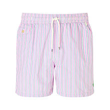 Buy Polo Ralph Lauren Traveler Stripe Swim Shorts, Pink Online at johnlewis.com