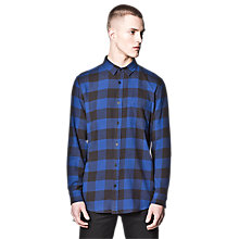 Buy Cheap Monday Neo Check Flannel Shirt, Blue Online at johnlewis.com