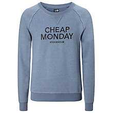 Buy Cheap Monday Neil Stockholm Sweatshirt, Blue Melange Online at johnlewis.com