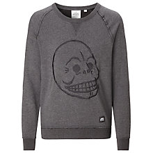 Buy Cheap Monday Neil Embroidered Skull Sweatshirt, Charcoal Online at johnlewis.com