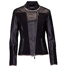 Buy Betty Barclay Leather Biker Jacket, Black Online at johnlewis.com