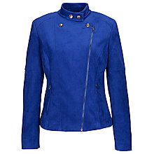 Buy Betty Barclay Suede Biker Jacket, Blue Adria Online at johnlewis.com