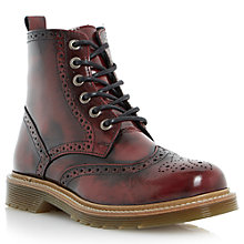 Buy Bertie Plummy Leather Brogue Ankle Boots, Burgundy Online at johnlewis.com