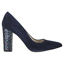Buy Jigsaw Fran Suede Sparkle Heel Court Shoes, Navy Online at johnlewis.com