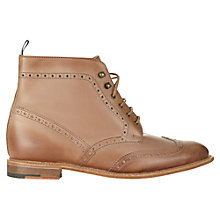 Buy Jigsaw William Morris Leather Brogue Boots, Tan Online at johnlewis.com