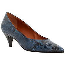 Buy Bertie Almo Pointed Leather Court Shoes, Navy Snake Online at johnlewis.com
