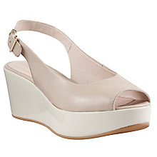 Buy John Lewis Tampa Peep Toe Leather Sandals, White/Nude Online at johnlewis.com