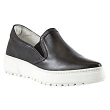 Buy Kin by John Lewis Sixty Four Leather Slip On Plimsolls, Black Online at johnlewis.com