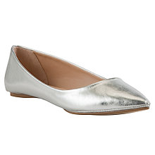 Buy John Lewis Grapefruit Point Toe Pumps, Silver Online at johnlewis.com