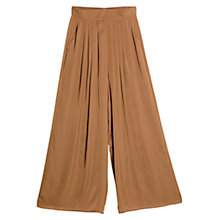 Buy Mango Flowy Palazzo Trousers, Dark Beige Online at johnlewis.com