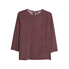Buy Mango Flowy Print Blouse, Dark Red Online at johnlewis.com