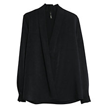Buy Mango Wrap V-Neckline Blouse, Medium Blue Online at johnlewis.com